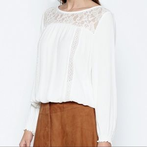 Joie ivory shirt with lace size small